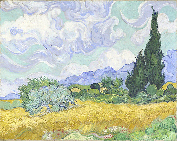 From Manet to Cézanne review. Van Gogh 's A Wheatfield, with Cypresses, painted in the summer of 1889,