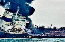 Explosion - The crew of an oil barge were connecting fuel hoses to the Aulac Fortune when there were several explosions, a Hong Kong fire chief said - Image CRedit: Hong Kong Police / AP Associated Press, 2019.