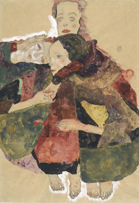 Egon Schiele, Group of Three Girls, 1911 - The Albertina Museum, Vienna Exhibition organised by the Royal Academy of Arts, London and the Albertina Museum, Vienna. Image Credit: