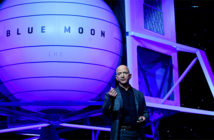 """Jeff Bezos unveiled the """"Blue Moon"""" lunar vehicle. The CEO and president of Amazon, during an event in Washington. Image Credit: Reuters, 2019."""