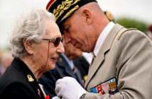 Veterans receive the Légion d'honneur. D-Day switchboard operator Marie Scott, 92, is presented with the Legion d'honneur at Pegasus Bridge. Image Credit: Christopher Furlong / Getty Images for The Times, London, UK, 2019.