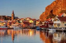 Secret Sweden: island hopping on the west coast. - Fjallbacka harbour. Image Credit: 4 Corners Images. 2019.