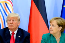 Trump threatens 'punitive' tariffs on European cars. Angela Merkel has questioned President Trump's claim that German cars pose a threat to the US military. Image Credit: Getty Images / Reuters, 2019.