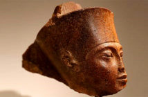 An Egyptian quartzite head of the God Amen, carved the face of the pharaoh Tutankhamen, sold at Sotheby's on Thursday. Image Credit: Peter Nicholls / Reuters, 2019.
