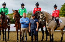Pippa Funnell prepares to the Olympia Horse Show. Her female jockeys to take on AP McCoy's men. Bridget Andrews, Josephine Gordon and Hollie Doyle with trainers William and Pippa FunnellImage Credit: Geoff Pugh, 2018.