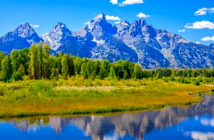Anger as US parks service announces largest mobile phone coverage expansion in history. Image of Grand Teton mountains with Snake River in the foreground. Image Credit: Grand Teton Park, USA, 2019.
