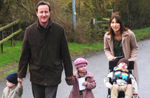 The Guardian apoligizes. David Cameron pictured in 2007 with his wife, Samantha, and their children Elwen, Nancy and Ivan, who died in 2009. The Guardian was accused of treating the former PM's grief with insensitivity. PA Press Associated, 2019.