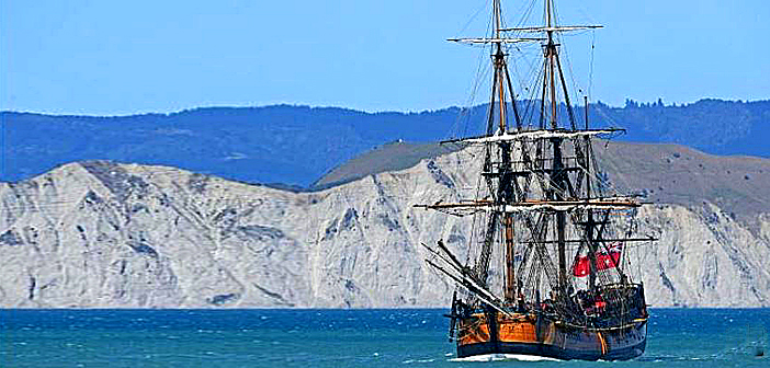 Captain Cook's ship sails into Maori protest.