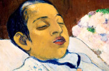 Behind the Gauguin paintings. Paul Gaugin's 1892 deathbed portrait of Atiti, currently on loan at the National Gallery, London Kröller Museum. Image Credit: Courtesy of National Gallery, 2019.
