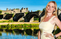Lara Stone escapes to Carcassonne.Timeless beauty: the medieval walled city of Carcassonne; and Lara. Image Credit: David Benett / Getty Images, 2019.
