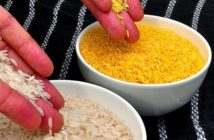 Golden Rice Approved as Safe. Engineered with genes that boost its beta-carotene content, golden rice comes with a yellowish hue that makes it stand out from typical white rice. Image Credit: International Rice Research Institute, 2019.
