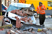 Man killed as Storm Ciara wreaks havoc.A car was crushed when a house partially collapsed in Leicester. Image Credit: BPM Media, 2020.