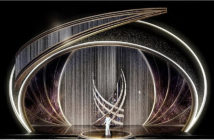 Swarovski to cover the Oscar 2020 stage.Jason Sherwood's design includes a 600-pound curtain, a 38-foot-tall tower, and a 1,100-pound swirl structure, all made of Swarovski crystals.. Image Credit: Courtesy of Jason Sherwood Design, 2020.