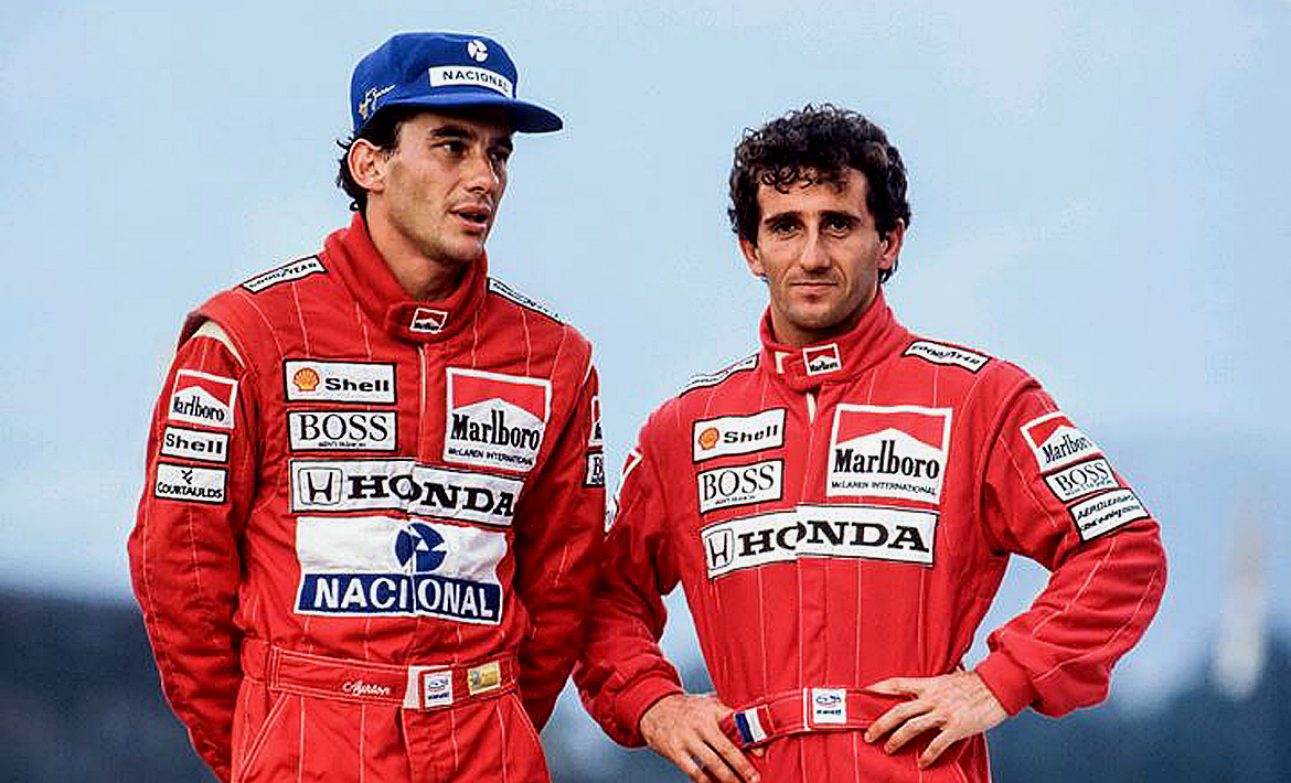 Ayrton Senna: 60 years old. With his team mate Alain Prost. Image Credit: Archive Motor Sport Magazine, 2020.