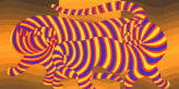 Two Tigers on Gold, by Victor Vasarely. Size: 21.5 x 30 in. (54.61 x 76.2 cm) Print Graphic Art, 1080.