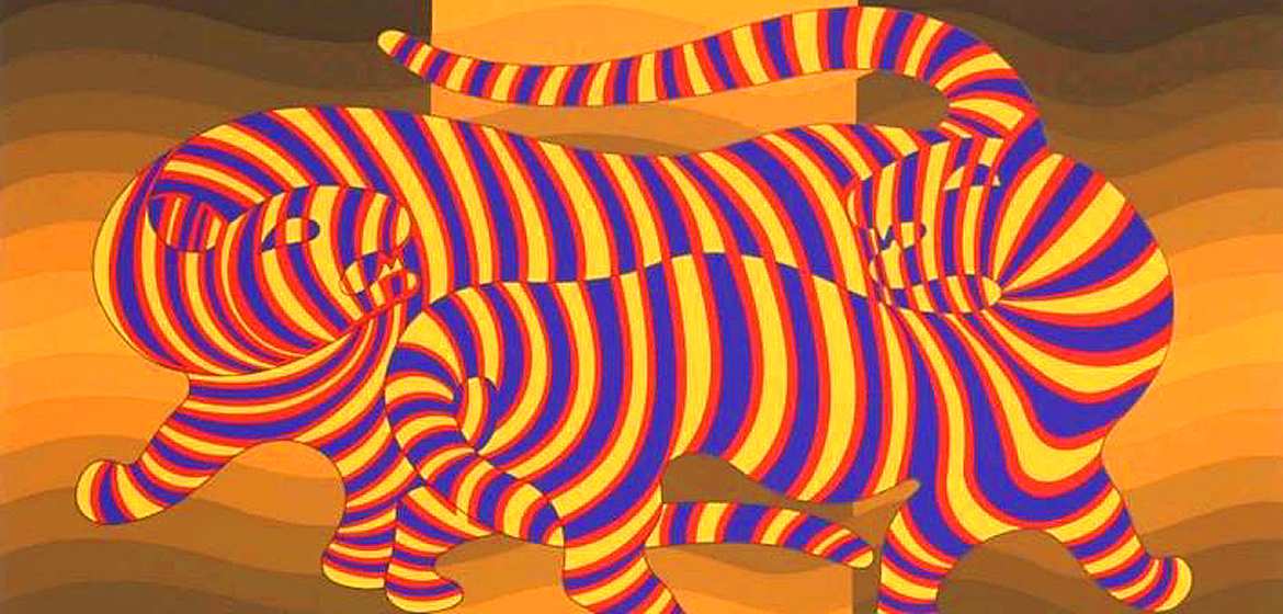 Two Tigers on Gold by Victor Vasarely.