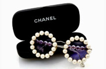 Chanel wardrobe goes to auction.. Chanel wardrobe from one fashion collector's private goes to auction at Sotheby's. Chanel pearl sunglasses. Image Credit: Courtesy of Sotheby's, 2020.