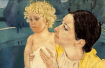 Art celebration of Mother's Day by Mary Cassatt, Mother and Child Before a Pool, ca. 1898. Brooklyn Museum, New York.