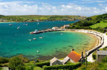 First look at the new Isles of Scilly helicopter. New Grimsby harbour, Tresco. Image Credit: Alamy, 2020.