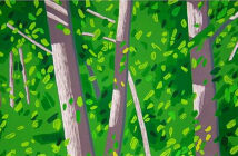Fine Art Print Fair's artists works.. A detail of 'Forest Woodcut' by Alex Katz, (2008). Image Credit: Courtesy of Ifpda, 2020.