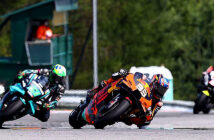 MotoGP history-maker Binder: 'This is insane!' KTM's Brad Binder leaves Franco Morbidelli (Yamaha) and Johann Zarco (Ducati) trailing at Brno. Image Credit: Motorsports Magazine, 2020.