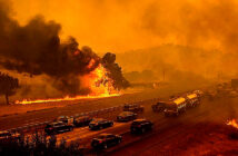 Apocalyptic August in California. The virus is indoors; the fires are outdoors. There are few places left to go.Photograph by Noah Berger / AP / Shutterstock, 2020.