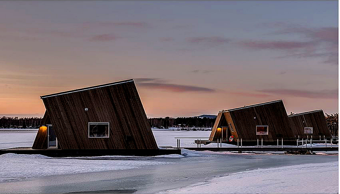 A look inside Sweden's new floating hotel. Several of the floating cabins, which are located in northern Sweden. Image Credit: Daniel Holmgren, 20