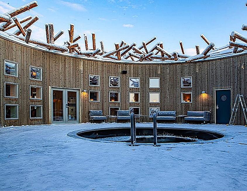 A look inside Sweden's new floating hotel. The spa's cold bath.. Image Credit: Anders Blomqvist, 2020.