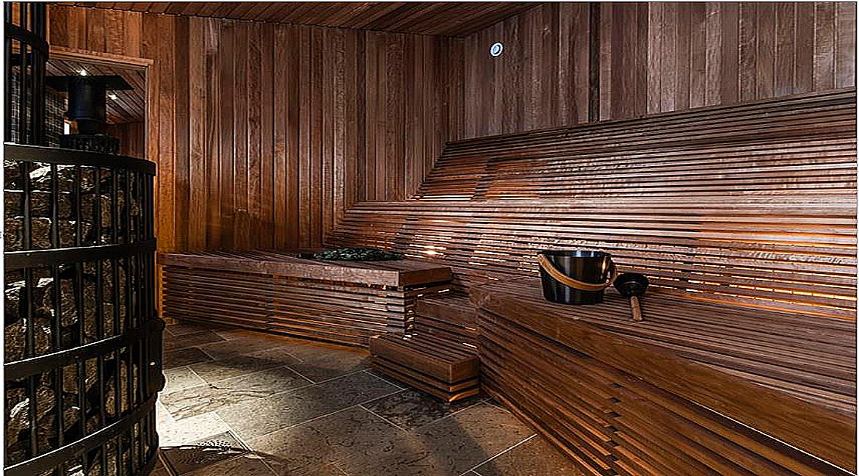 A look inside Sweden's new floating hotel. In the spa's sauna. Image Credit: Daniel Holmgren, 2020.
