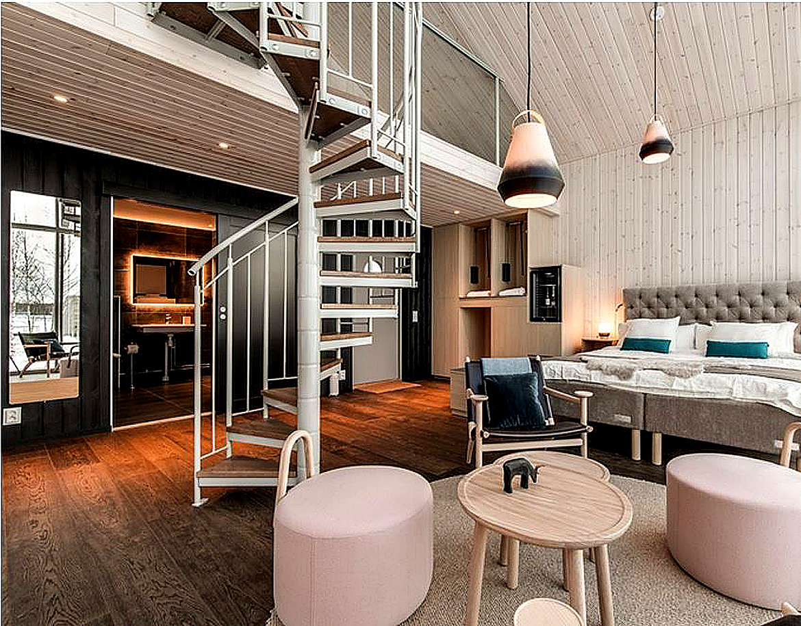 A look inside Sweden's new floating hotel. In one of the six land-based cabins.Image Credit: Daniel Holmgren, 2020.