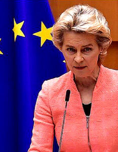 Breaching treaty will poison future relations, warns EU president. Ursula von der Leyen quoted a speech by Margaret Thatcher when she was campaigning for Britain to stay in the European Economic Community in 1975. Image Credit: John Thys / Getty Images, 2020.
