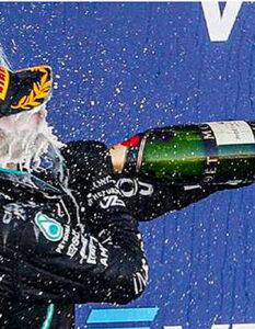 2020 F1 Russian Grand Prix report Bottas and Hamilton on the podium at Sochi. Image Credit: Francois Flamand / DPPI, 2020.