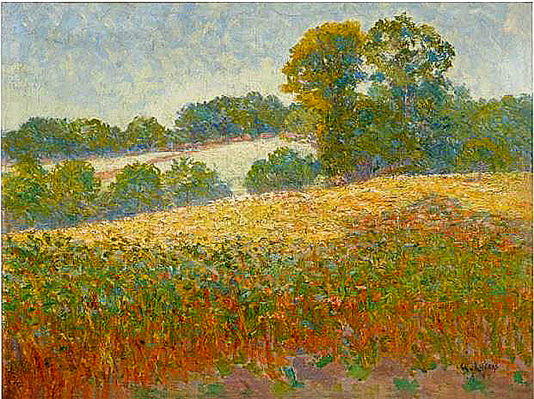 Impressionist & Modern Art at Sotheby's.. Gustave Loiseau - Champs de fleurs. Property from Private Collection, UK. Image Credit: Courtesy Sotheby's, 2020.
