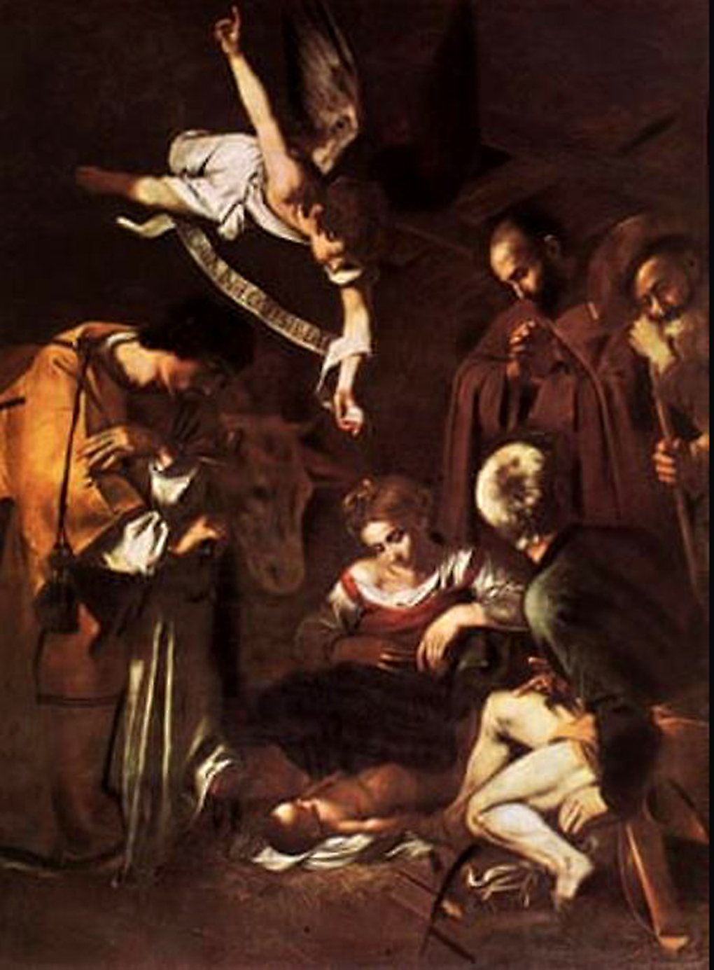 Caravaggio's masterpiece Nativity with St Francis and St Lawrence. Art Collection 2 / Alamy Stock Photo, 2020.