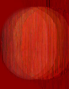 Carlos Cruz-Diez (1923 - 2019) and his ''Physicromie'' N°421 dated on April 1968 and inscribed on the reverse acrylic and metallic elements on panel 61 x 62 x 6 cm ; 24 x 24 1/2 x 2 3/8 in. Image Credit: Courtesy by Sotheby's, 2020.