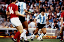 Diego Maradona takes on the Belgium defence during the 1982 World Cup. Image Credit: AFP agence France Press, 1982.