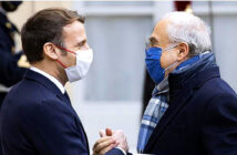 Macron falls ill with Covid19, days after meeting European leaders. Mr Macron has met Angel Gurria, head of the Organisation for Economic Cooperation and Development, along with European leaders in recent days Image Credit: Ian Langsom / EPA, 2020.