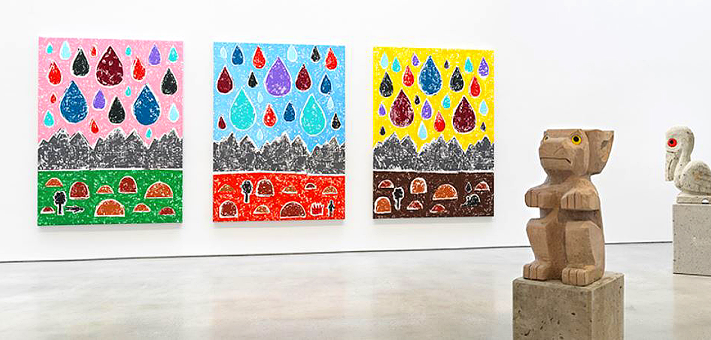 Colorful new woodcut landscape by Olaf Breuning at Metro Pictures, in New York. Olaf Breuning, RAIN. Installation view, 2020-21. Metro Pictures, New York, 2021.