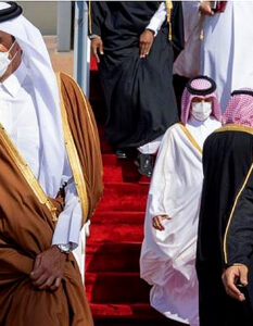 Saudi Arabia lifts three-year Gulf blockade of Qatar. Sheikh Tamim al-Thani, the emir of Qatar, left, was welcomed by Mohammed bin Salman, the Saudi crown prince, to a summit today in Alula Royal Council of Saudi Arabia / Anadolu Agency / Getty Images, 2021.
