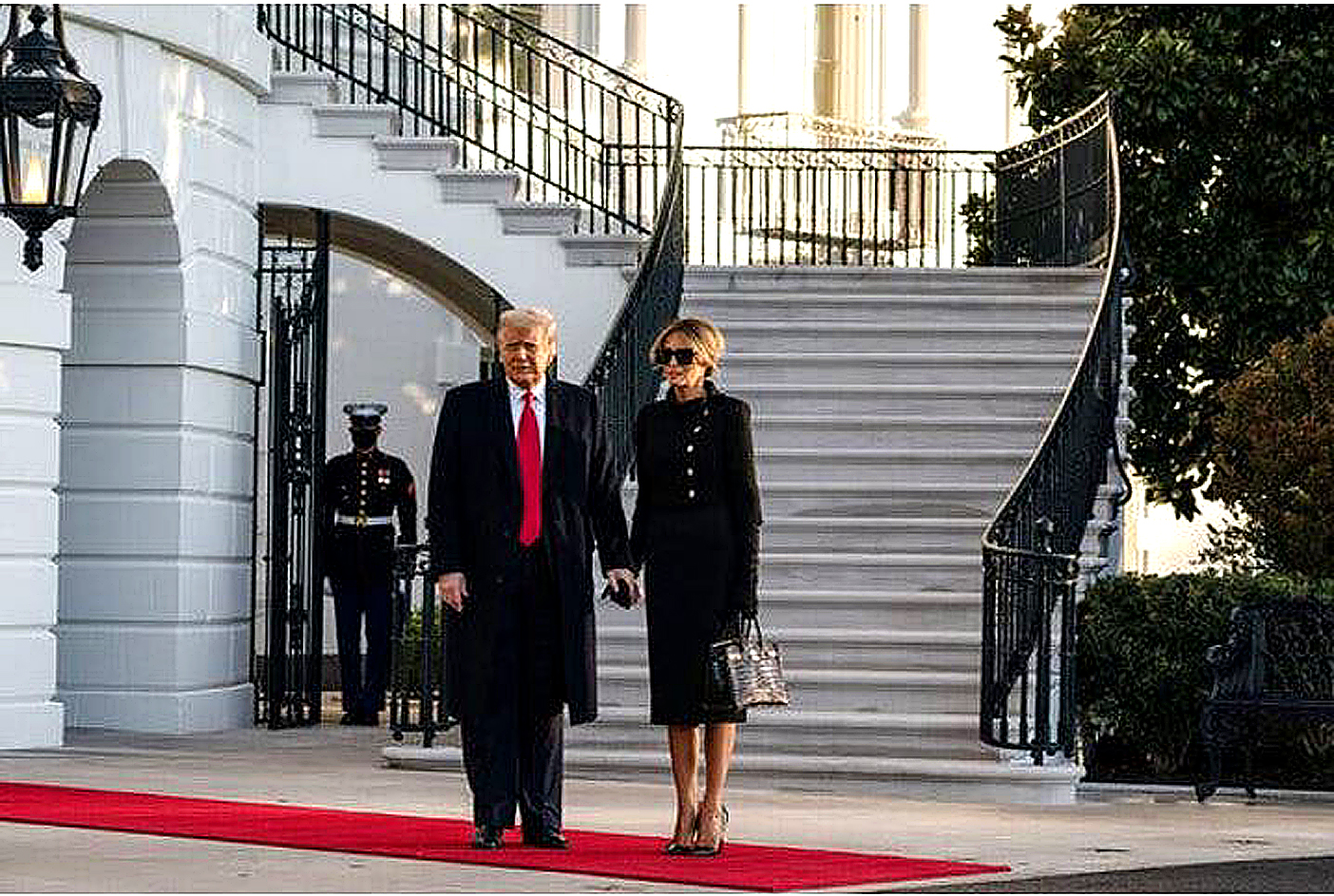 President Donald Trump leaves the White House. President Trump before boarding Marine One with Melania Trump, the first lady, on his last day as president. Image Credit: Anna Moneymaker, 2021.