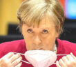 """Angela Merkel steers EU from brink of vaccine war. Angela Merkel said: """"You have to be very careful now about imposing general export bans — you have to take a very close look at the supply chains"""" Michael Kappeler / Getty Images, 2021."""