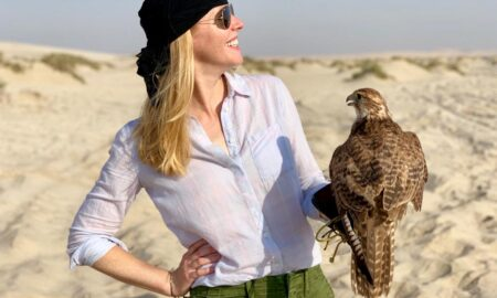 Falconry in the desert in Qatar