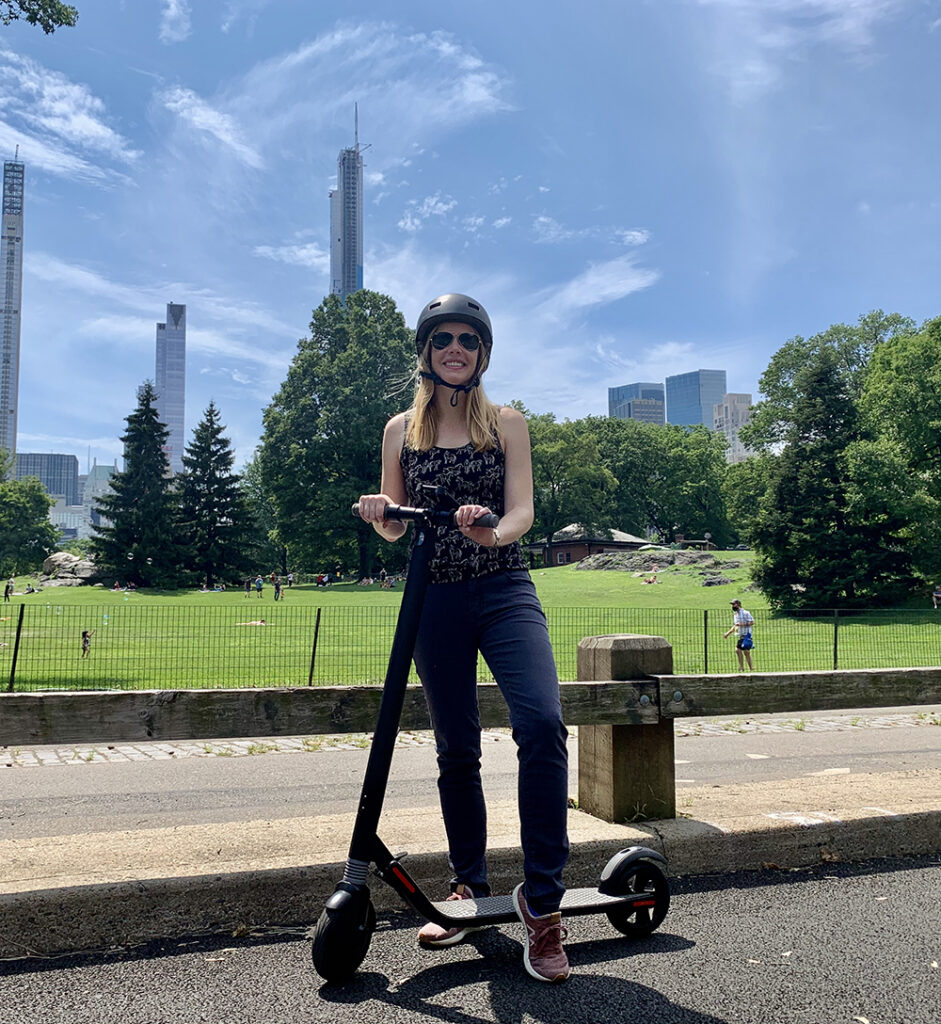 Darley on her Segway Ninebot scooter in NYC's Central Park