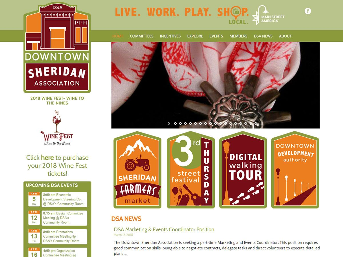 Downtown Sheridan Association website created by Confluence Collaborative