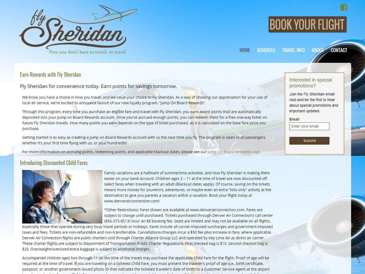 Fly Sheridan Website and Print Design created by Confluence Collaborative