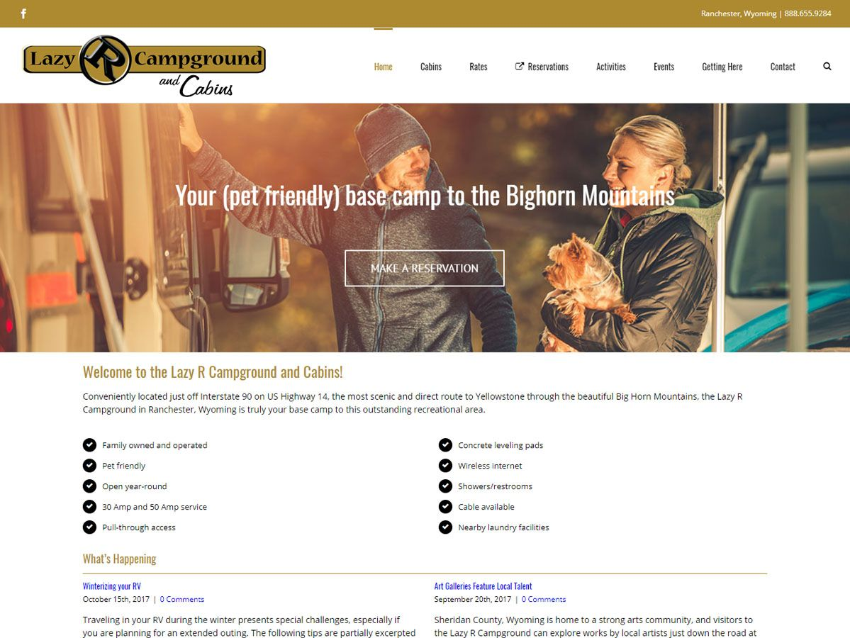Lazy R Campground website created by Confluence Collaborative