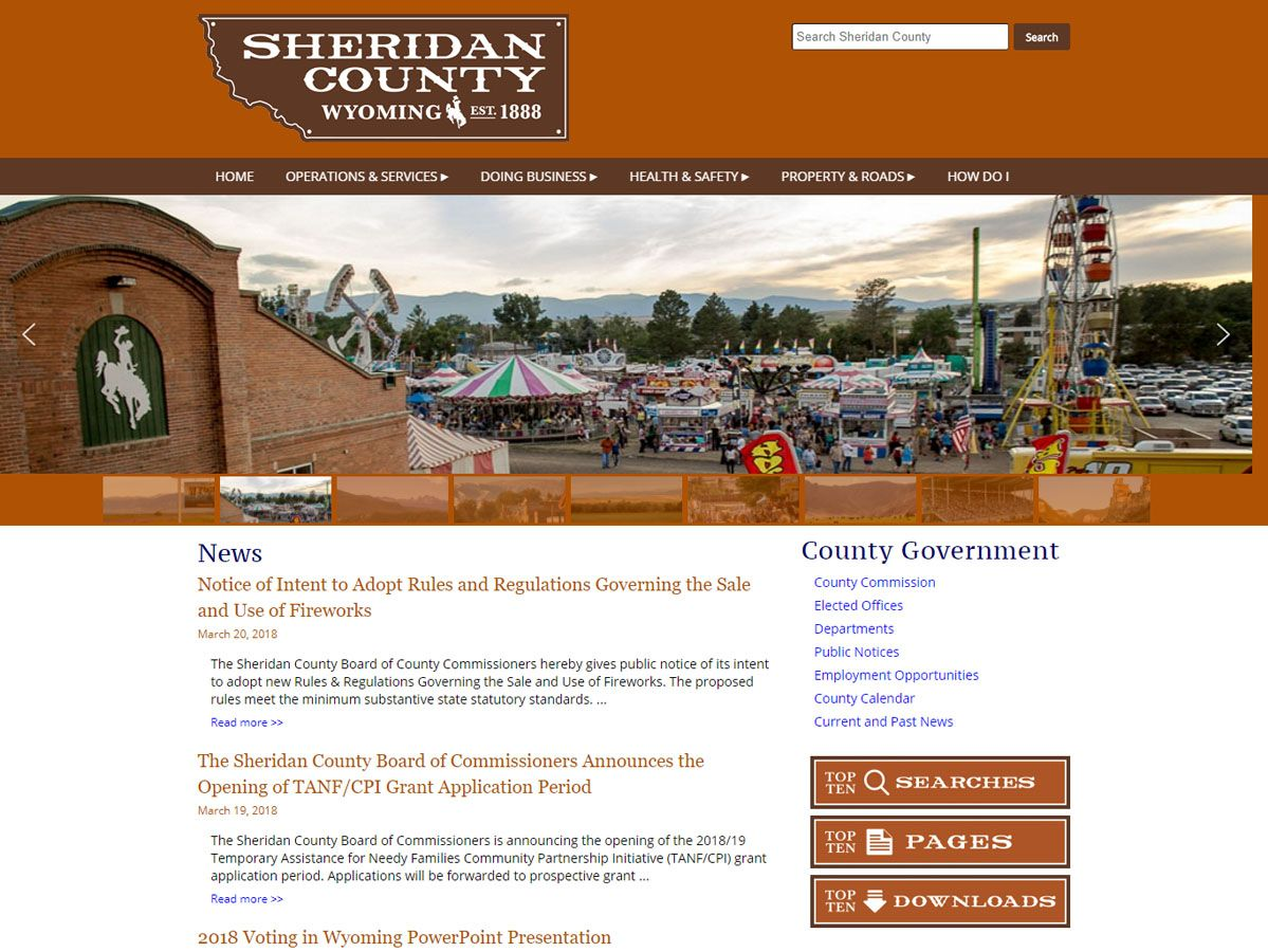 Sheridan County website created by Confluence Collaborative