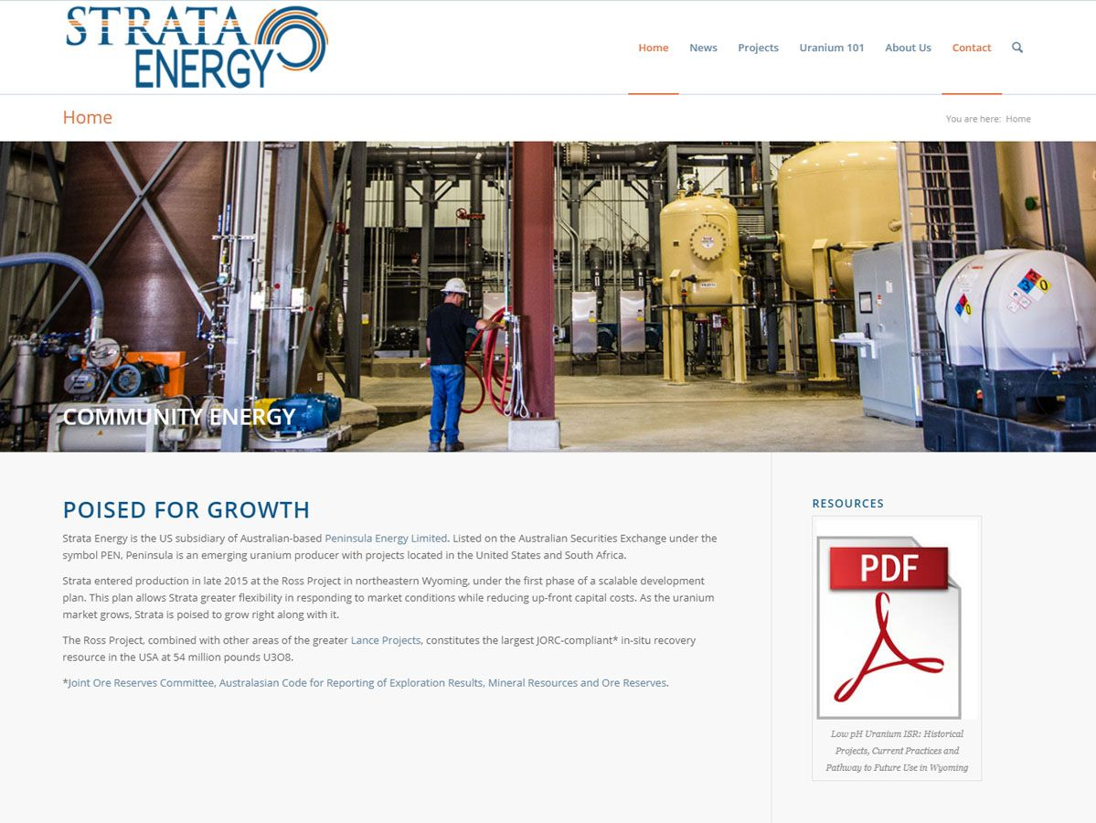 Strata Energy website created by Confluence Collaborative