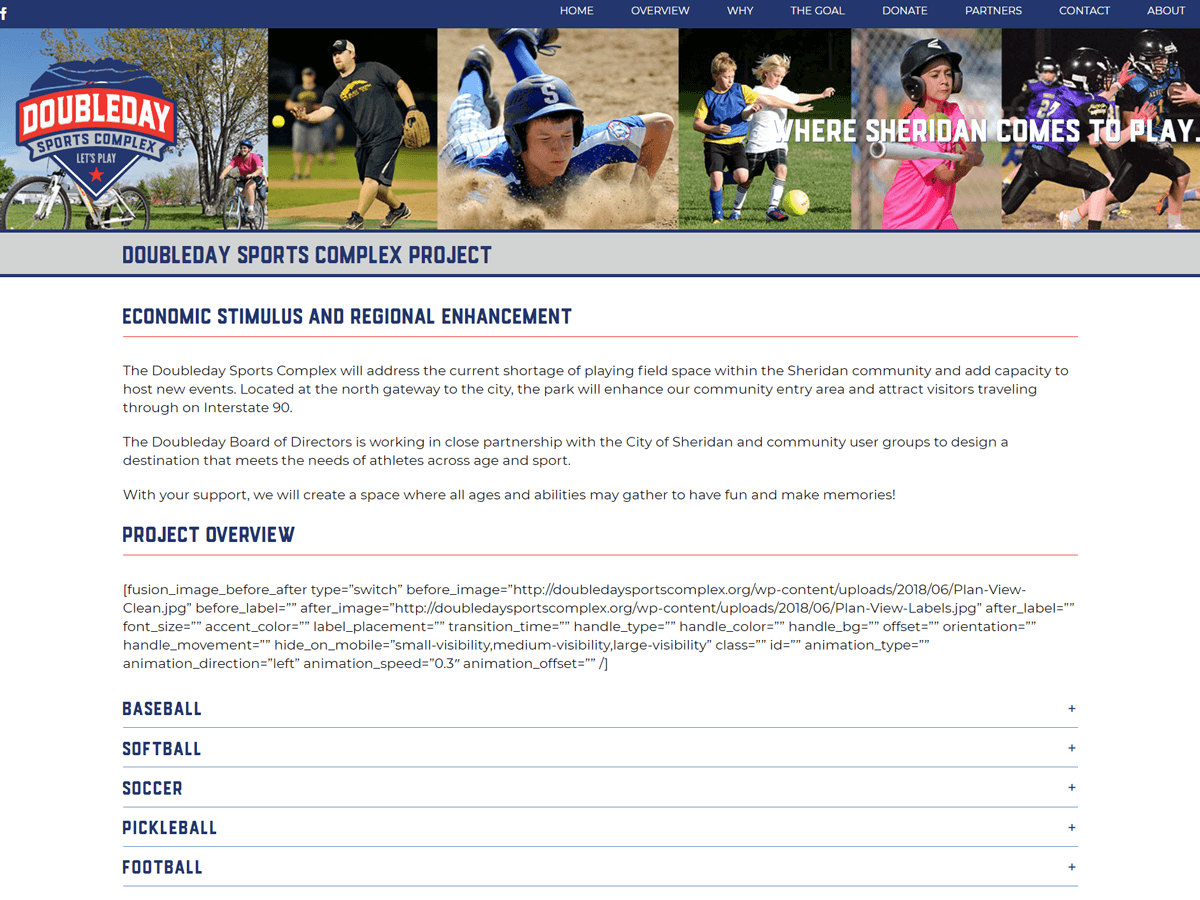 Doubleday Sports Complex website created by Confluence Collaborative