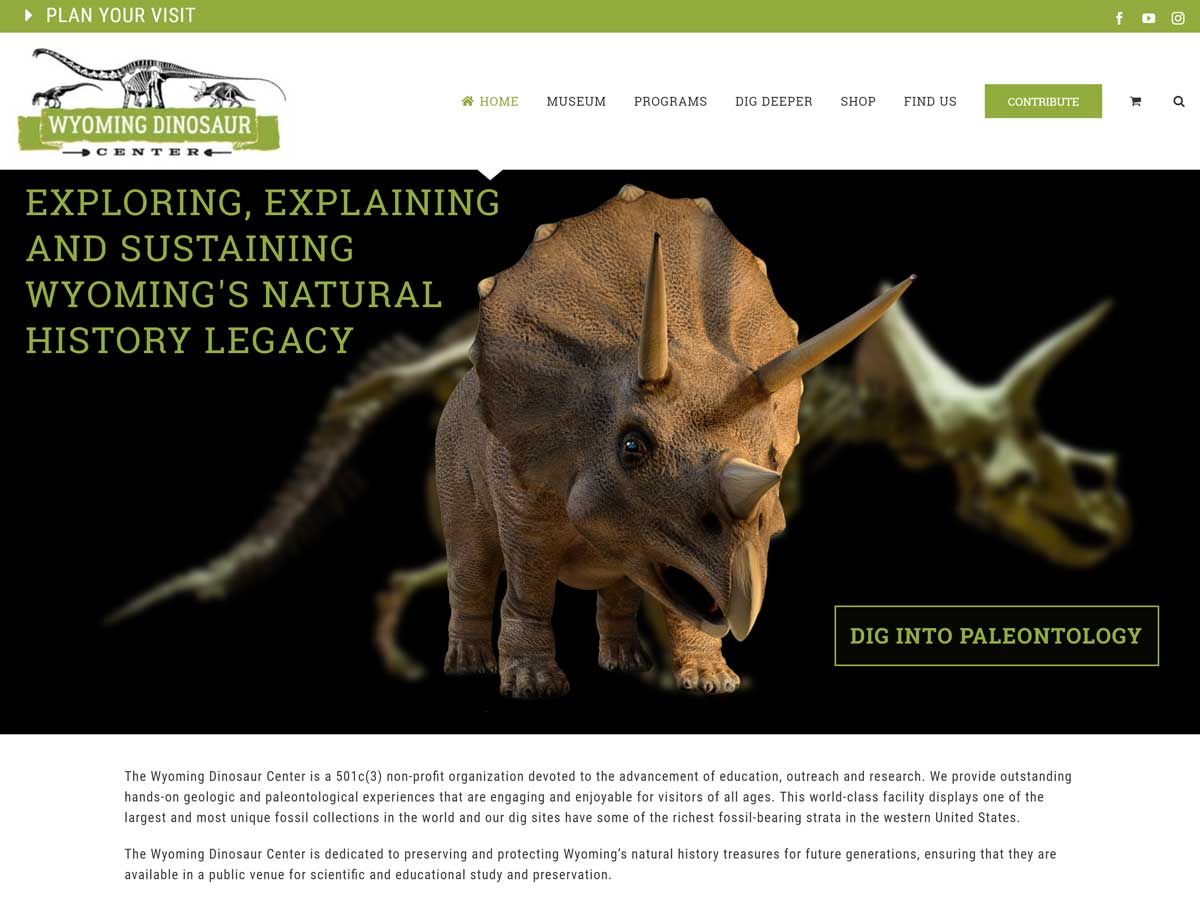 Wyoming Dinosaur Center website created by Confluence Collaborative